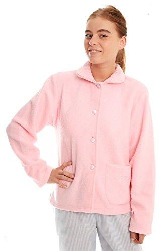 Damen Soft-Fleece Warm-Taste Traditionelle Nachtwäsche Bed Jacket Kleid Rosa