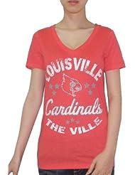 NCAA Louisville Cardinals Femme T-Shirt with Rhinestones (Vintage Look)