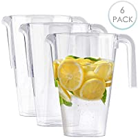 MATANA 6 Pack - 1.5 Litre Clear Plastic Jugs, Cocktail Party Pitchers - Sturdy, Disposable & Reusable - Great for Kids Parties Birthdays Catering Weddings Christmas.