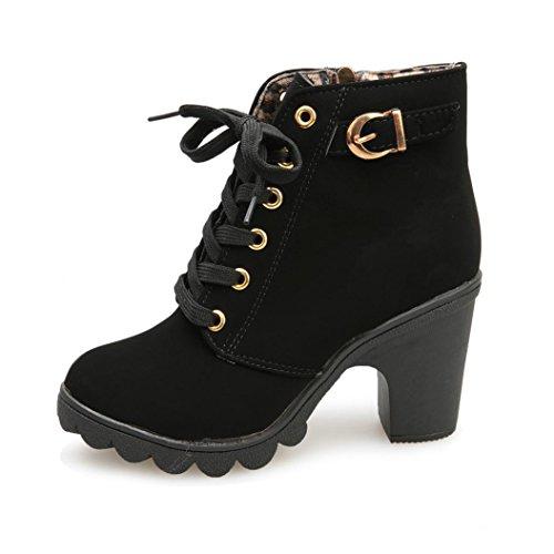 85de00db3645fa ... Damen Stiefel Clode® Frauen arbeiten Absatz Ankle Boots Damen Buckle  Plattform Stiefeletten Schuhe Schwarz ...