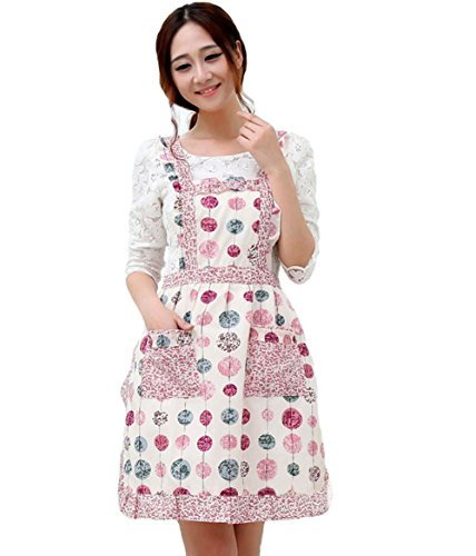 Hyzrz Grembiule in cotone con 2 tasche, nuovo stile bucolico, motivo floreale, per casalinga, cuoco, cucina