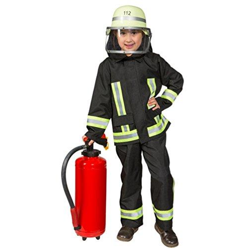 Kostüm Feuerwehr Junge Uniform Feuerwehrmann Anzug Fasching (140, Schwarz) (Feuerwehrmann-uniform Kinder Für)