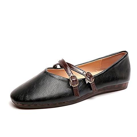 light chaussures plates,une boucle de mot coréen version de chaussures de grand-maman,cent mary jane peas chaussures de grossesse-A Longueur du pied=24.3CM(9.6Inch)