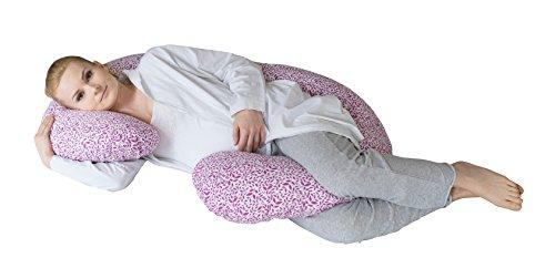 Motherhood 5901323922893 Still- und Lagerungskissen Blätter inklusive Bezug 100% Baumwolle - ergonomisch, Öko-Tex Standard 100, Klasse 1, rosa/lila