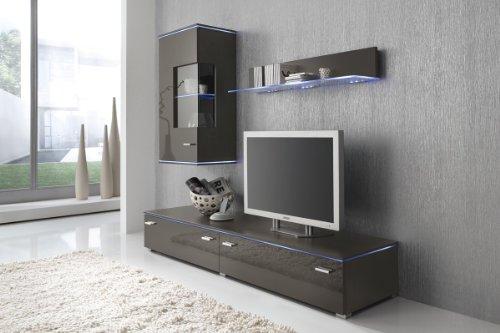 Wohnwand Anbauwand grau lavagrau, Fronten hochglanz, optional LED-Beleuchtung, Beleuchtung:Beleuchtung Weiß