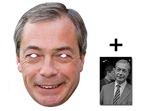Nigel Farage UKIP Leader berühmtheit Single Karte Partei Gesichtsmasken (Maske) Enthält 6X4 (15X10Cm) starfoto