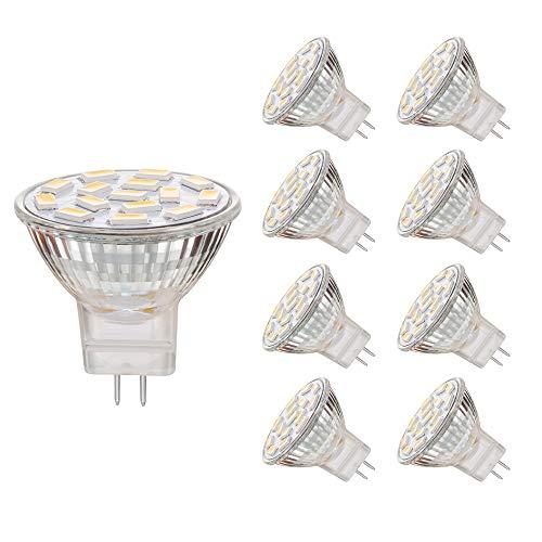 EKSAVE MR11 GU4.0 3.5W LED Glühbirnen, Äquivalent zu 25-35W Halogenlampen, GU4.0 Base AC/DC 12V, 350 LM, 120 ° Flutlichtstrahl, Einbauleuchten, Track Beleuchtung, Weiß (6000K, 8pcs) -