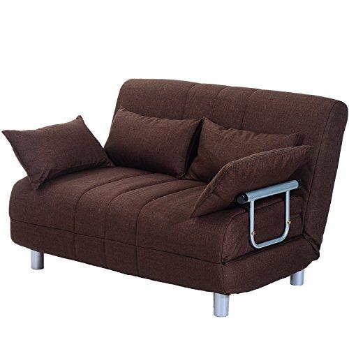 Homcom divano letto matrimoniale in acciaio e tessuto di poliestere con 4 cuscini marrone