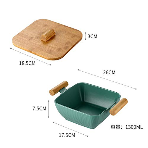 Nordic Creative Porcelain Plate Kitchen Salad Fruit Plate with Cover Large Capacity Ceramic Plate Receiving Plate Large Size Deep Plate, High Side Plate + Cover with Biauricular Handle (dark green) Porcelain Side Plate
