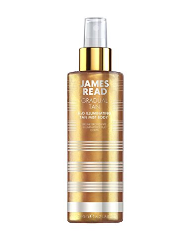 James read h20 illuminante tan mist per corpo 200 ml light/medium graduale autoabbronzante naturale golden glow rose water tanning mist infuso con oro 24 k adatto per tutte le tonalità della pelle
