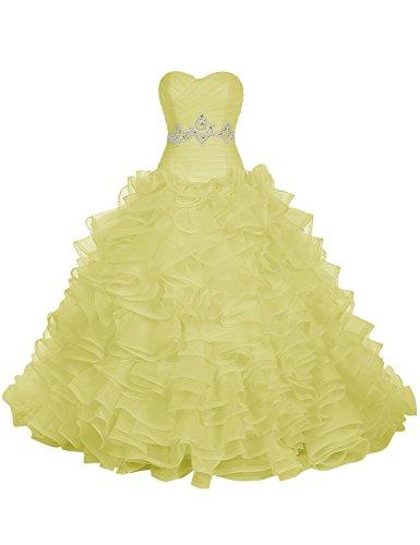 Find Dress Paillette Robe de Mariée Princesse Femme Plissé Multicouche Floral Cocktail Longue Party Anniversaire Col en Coeur Robe de Soirée Grande Taille Formelle en Tulle Jonquille