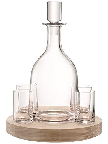 LSA Lotta Dekantierset &Ash Boden, Wodka Dekanter, mundgeblasenes Glas, mit Tablett aus Eschenholz...