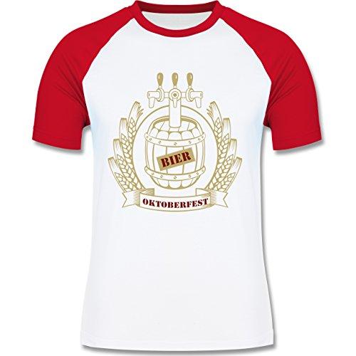 Oktoberfest Herren - Bierfass Ähren - zweifarbiges Baseballshirt für Männer Weiß/Rot