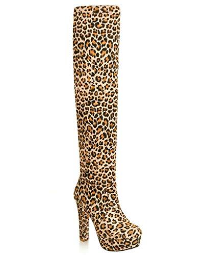 Minetom Mujer Invierno Moda Suede De La Rodilla Botas Tacón Alto Puntera Redonda Zapatos Botas Leopardo EU 37