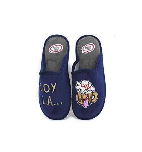 Se me ríen los pies - Zapatillas de Casa para Hombre Soy la Caña - Marino, 42