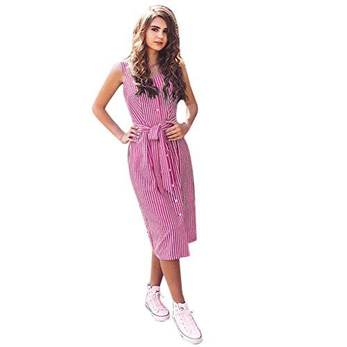 MERICAL Sommer Kleider FüR Damen Knielang ,Frau gestreifter Bogen Verband sexy ärmellose Strap Einreiher Elegantes Kleid(Rosa,X-Large) -