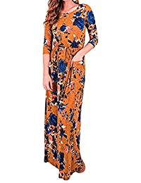 Mujer Vestido Manga Larga Maxi Largo Traje de Otoño,Sonnena Vestidos Largos Cintura Alta de