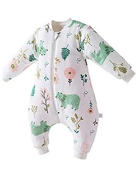 HAPPY CHERRY Baby Kleinkind Schlafsack Weich Baumwolle Schlafanzug mit Beinen Gefüttert Overall Abnehmbare Ärmel...