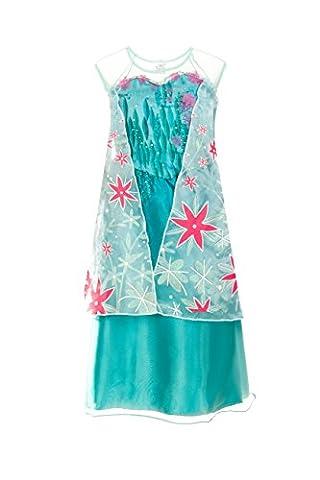 Elsa Eiskönigin-Kleid für Mädchen - Prinzessinnenkostüm für Kinder von Fairy Tale Designs - Größe für das Alter (Disney Inspirierte Tanz Kostüme)
