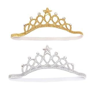 Frcolor Prinzessin Krone Stirnband für Baby Girl Geburtstagsgeschenk, 2er-Pack (Silber und Gold)