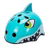 Babimax Casco bici per bambini degli animali sicurezza protezione della testa S 50-54CM per bambini dai 3-6 anni, M 54-58CM per bambini dai 7-13 anni leggero,traspirante,costante (Squalo blu, S)