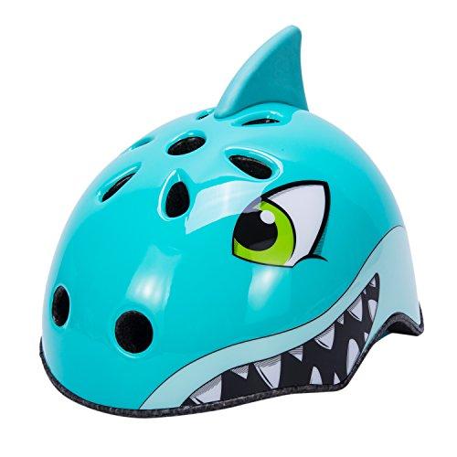 Babimax Fahrradhelm Kinder blauer Hai grüner Dinosaurier Fuchs Bär Sport Mountainbike Skatebord (Blau-Hai, S)