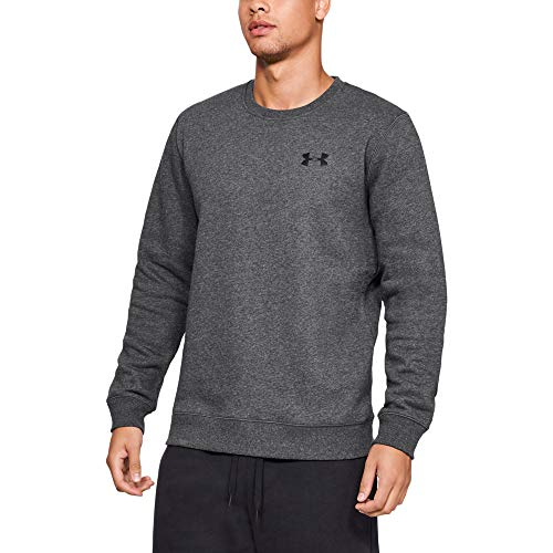 Under Armour Rival Solid Fitted Crew Sudadera, Hombre, Gris (Carbon Heather/Black 090), M