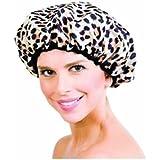 Betty Dain Safari Spots Shower Cap, Leopard Print/Beige Terry Lining by Betty Dain