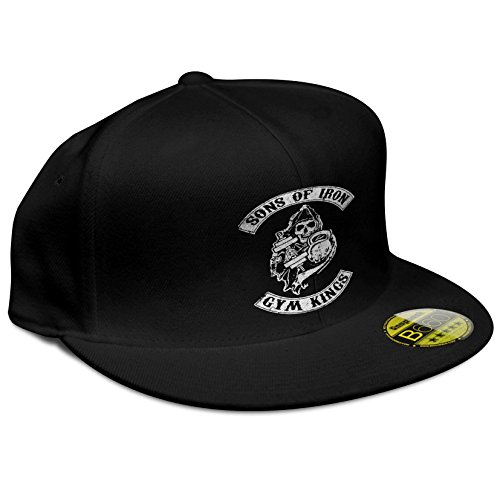 StyloTex Flat Cap Sons of Iron Gym Kings Print, Farbe:schwarz