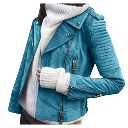 Innerternet Lederjacke Damen Kunstleder Lederjacke Motorrad Jacke mit Reißverschluss und Kapuzen Bikerjacke Übergangsjacke Bikerjacke Oversize Jacke