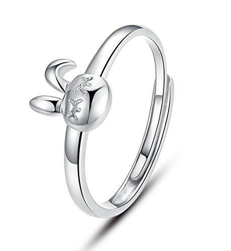 Unendlich U 925 Sterling Silber mit Platin Süße Hase Kaninchen Ring für Damen/Mädchen, Verstellbare Größe von 49 (15.6) bis 54 (17.2) (Süße Finger-ringe Für Frauen)