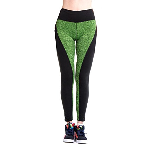 Ouneed® Femmes Haut Taille Sports Trousers Athletic Gym Fitness Yoga Vert