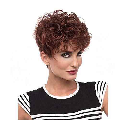 Qqhair parrucche eleganti ricce corte donne mescolano marrone con parrucche di capelli di vino rosso onda capelli sintetici fibra ad alta temperatura con parrucche cap-001