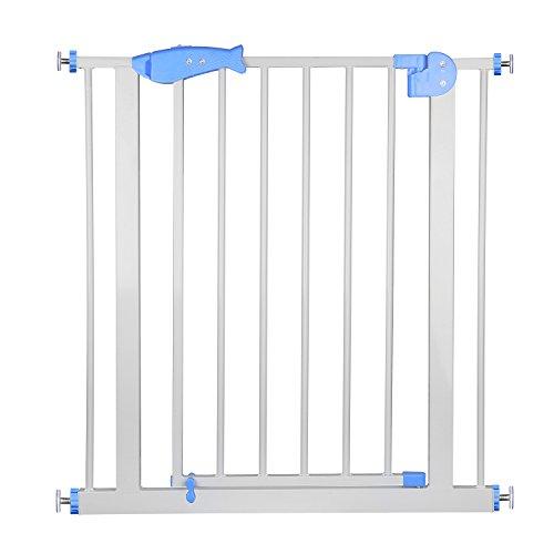 Baby Türgitter Auto-Close Treppengitter Treppenschutzgitter Safety Hochwertiges Metallschutzgitter, doppelte Schließsystem ohne Bohren und Schrauben Geeignet für Kind und Haustier, Höhe 80 cm, Weiß -