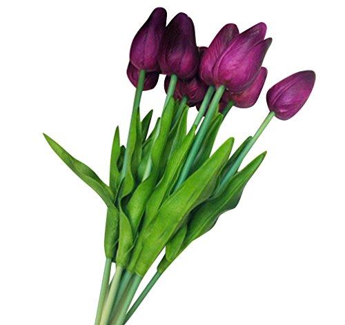 10 Stück Schön Tulpe künstliche Blumen Dekoriere,Kunstblumen Real Touch Bridal Wedding Bouquet Home Decor wine Rot