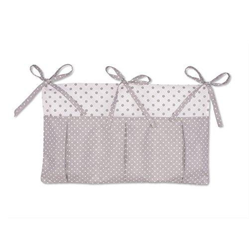 KraftKids Betttasche weiße Punkte auf Grau graue Punkte auf Weiss, Hänge-Ablage 50 x Höhe 30 cm, Bett-Organizer -