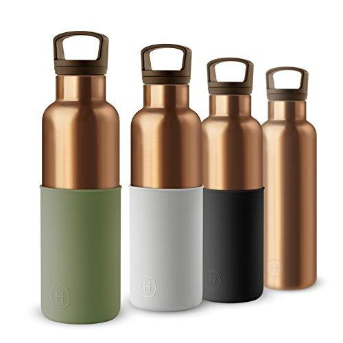 Hydy vuoto isolamento termico water bottle–bpa senza acciaio inossidabile–eco friendly–ideale per esercizi, l' ufficio e viaggi–moderno stile urbano design, bronze gold-seaweed green