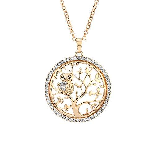 Collier pour les femmes arbre de vie collier mignon hibou pendentif collier pour les filles or longue chaîne collier avec cristal CZ (Plaqué or)