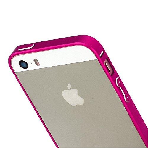 RE:CRON® Bumper Handycase Rahmen für Apple IPhone 5 und 5S - Aluminium Silber Pink - Metallic