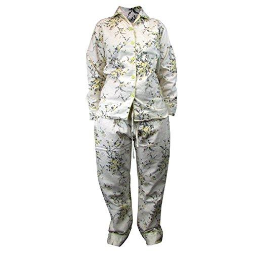 Womens Traditionell Flanell PJ Pyjama Set Nachtbekleidung PJ Damen Pyjama Sets Neu - Gelb, Damen, 44-46 (Baumwolle Set Pj Flanell)