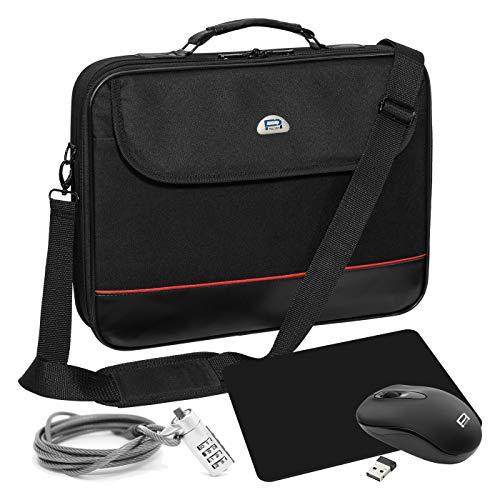 """PEDEA Notebook-Tasche \""""Trendline\"""" Starter Kit für Notebooks mit Displaygrößen bis 17,3 Zoll (43,9cm) inkl. schnurlos Maus, Mauspad und Notebookschloss, schwarz"""