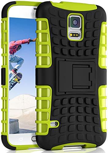 OneFlow® Outdoor Back-Cover aus Silikon + Kunststoff [Double-Layer] passend für Samsung Galaxy S5   Extrem widerstandsfähiger 360° Schutz, Grün