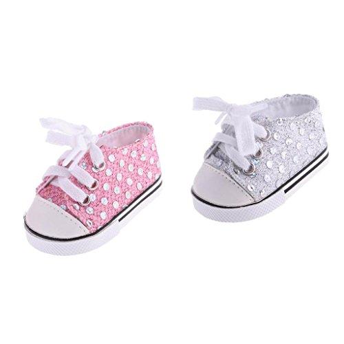 fcf591df143e30 Sharplace 2 Paar Modische Puppenschuhe - Pailletten Turnschuhe Schuhe -  Zubehör für 18 Zoll American Girl
