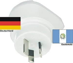 Reiseadapter Guatemala auf Deutschland für 220-230V deutscher Schukostecker - Reisestecker - Travel Plug Germany / Guatemala