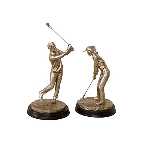 XRBJ66 Statues d'intérieur, Golfeur de résine Semi-Manuelle Hommes et Femmes Une Paire d'artisanat...