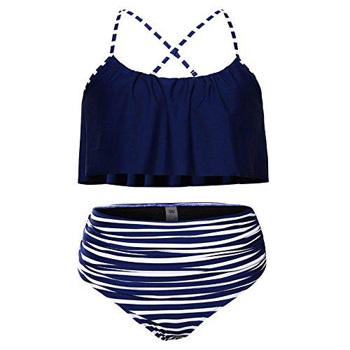 Boho Flounce Falbala Hohe Taille Bikini Set Chic Badeanzug (Blue-S) (Krieger Dress Up)
