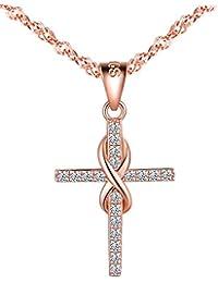 d4f68ab6b0a7 Infinito U- Collares Mujer de Plata de Ley 925 Colgante Cruz y Simbolo  Infinito con Diamante Brillante