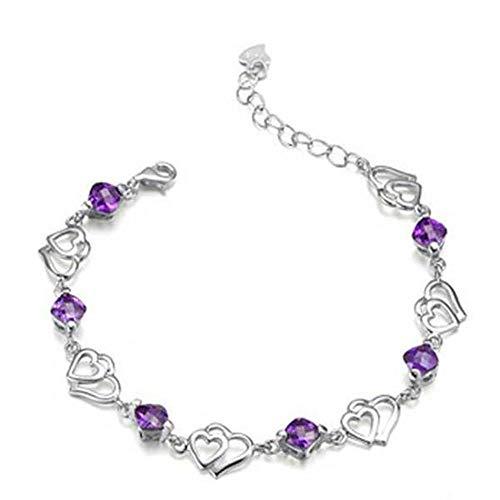 JunBo Mode Silber Armband Doppelte Herzen Amethystarmband