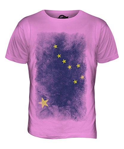 CandyMix Bundesstaat Alaska Verblichen Flagge Herren T Shirt Rosa