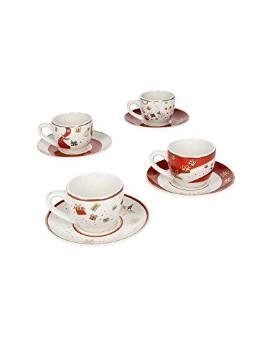 Brandani 53015Alleluia–Set di 4tazze da caffè in porcellana, multicolore
